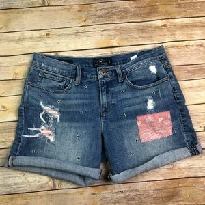 Lucky Brand Jeans Roll Up Patchwork Stars Shorts